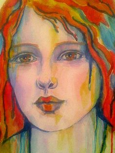 "Detail:  ""Selkie"" is a 12 X 14"" watercolor, paint pen and charcoal pencil painting.  It was inspired by myth and artworks by Joan Dumouchel.  You can see her paintings at  www.galerieblanche.com/artist/22/joan-dumouchel ."