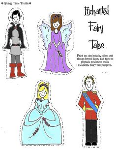 princess paper puppets more imagination fairytales kids puppets ...