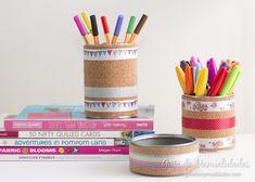 Latas de conservas decoradas con corcho y washi tapes