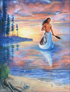 How The Peacemaker Came To Earth and Where the Peacemaker Resides Today - An incredible story told by Hayehwatha - Painting by Marcine Quenzer