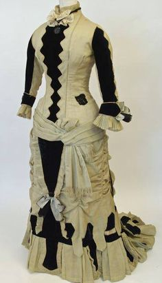 American celadon wool and black cotton velvet dress, c. 1878. Currently on display at the Waterloo Region Museum in the exhibition Street Style