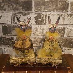 Primitive Bunny - Bunnies - Art Doll - Handmade Doll - Figure - Bunny - Whimsical - Paper Clay - Cloth Doll - Miniature - Spring Decor - by Rustiikkitupa on Etsy