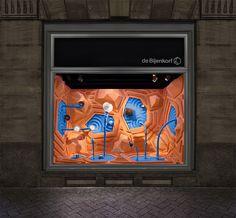 Escaparates con temática del agua para la marca de lujo, en De Bijenkorf deAmsterdam. http://glocal.mx/interiorismo/retail/2045-bonsoir-paris-para-hermes