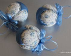 3 Petite Christmas Ornaments,in blue and cream and a touch of silver