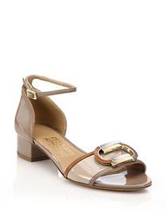 Salvatore Ferragamo - Glenn Mid-Heel Patent Leather Sandals