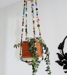 Plant Hanger Beaded Hanger Yard Art Patio Decor By LindasYardArt,