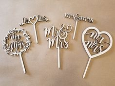 """Wedding Cake Toppers - """"Mr & Mrs"""" - 6 inches wide, Laser Cut Wood by HicksGraphicsCo on Etsy Laser Cut Steel, Laser Cut Wood, Laser Cutting, Wood Wedding Cakes, Wedding Cake Toppers, Wedding In The Woods, Unfinished Wood, Mr Mrs, Metal Signs"""