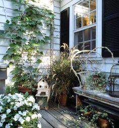 Create a beautiful garden on a budget. - I like the wood porch, the bench and the plants