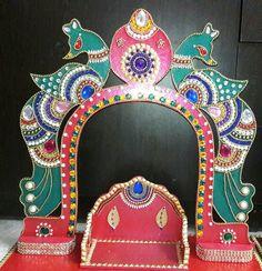 MDF BOARD jula/Swing Mandir Decoration, Thali Decoration Ideas, Ganapati Decoration, Decoration For Ganpati, Diwali Decorations, Festival Decorations, Ganesh Chaturthi Decoration, Janmashtami Decoration, Flower Rangoli