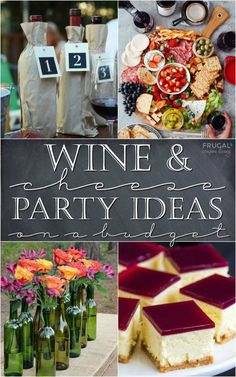 and Cheese Party Ideas on a Budget. Recipes, cheese and charcuterie boards plus free wine and cheese party printables.Wine and Cheese Party Ideas on a Budget. Recipes, cheese and charcuterie boards plus free wine and cheese party printables. Cheese Party Trays, Wine And Cheese Party, Wine Cheese, Cheese Plates, Queso Cheese, Wine Tasting Room, Wine Tasting Party, Tasting Table, Food Tasting