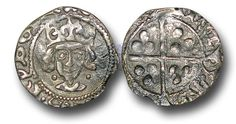 Edward IV (1461-1483), Penny, 0.53g., Light Cross and Pellets Coinage (c.1470-78), Dublin mint, crowned facing bust of Edward, two pellets at neck, rev., plain long cross, (S.6364; JBurns Du-5 (type 5) plate coin), good very fine