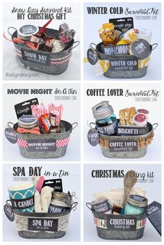 Some wonderful Gifts In A Tin Ideas! All 6 gift basket ideas come with Free Tags and Labels, and a list of suggested items. | The DIY Mommy