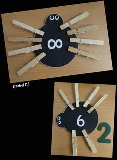 Snakes, Worms & Bugs Numbered Legless Spiders Adding legs to match the numbers. A couple of bright children had the opportunity to talk about how many legs the spider would need to make it up to Maths Eyfs, Numeracy Activities, Eyfs Classroom, Nursery Activities, Classroom Activities, In Kindergarten, Learning Activities, Preschool Activities, Incy Wincy Spider Activities