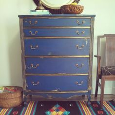 Up for grabs today....chest of drawers in Benjamin Moore's Evening Blue with gold accents. On my Etsy shop and more photos on the blog...see profile. @benjaminmoore #bluedresser #antiquedresser #vintagemodern