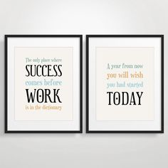 Office Decor Christmas Gift For Coworker Inspirational Quote Art Motivational Print Set Of 2