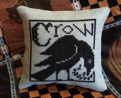 Crow Cross Stitch Cupboard Tuck Bowl by jackwabbitprimitives. Design by The Prairie Schooler.