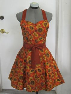 Fall Sunflowers Tuscan Apron Full of Twirl by ApronsByVittoria, $36.00