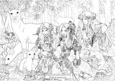 "lotrlocked: ""thegreencarousel: "" Here is a sample page of the Silmarillion colouring book for you all to download and colour, at the courtesy of @mouthmango who commissioned me to do an Oropherion family page of Oropher, Thranduil, Legolas and the..."
