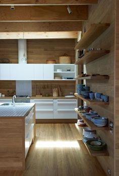 Japanese kitchen, wood and white minimal, open shelves wall, modern kitchen
