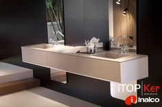 iTOPKer solutions. Bathroom countertop made with Foster Piedra Natural.