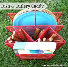 Echoes of Laughter: Organizing A Camping Kitchen - I should keep the disposable stuff outside in a holder like this.