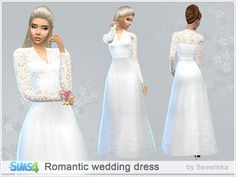 Women's classic wedding dress with lace top and long sleeves.  Found in TSR Category 'Sims 4 Female Everyday'