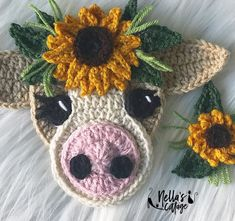 Searching for the perfect crochet applique pattern items? Shop at Etsy to find unique and handmade crochet applique pattern related items directly from our sellers. Crochet Cow, Crochet Sunflower, Crochet Unicorn, Easy Crochet, Free Crochet, Crochet Hats, Bolero Crochet, Crochet Birds, Crochet Animals