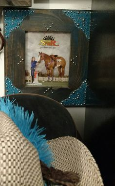 Western décor DK Walnutwood 8x10 Photo Frame with Turquoise Brush, Shiny Turq Croc Scallops accented by Shiny Silver Rivets by WesternRustique on Etsy