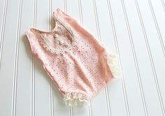 Petite in Peach adorable newborn romper in peach eyelet knit