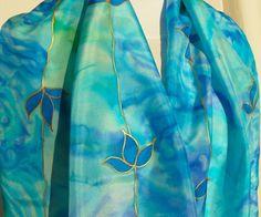 Sea Blue Turquoise silk scarf Mediterranean beach colors by Irisit