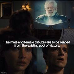 What I like about this scene is that their immediate reactions are so true to character and their inner thoughts are so clearly expressed in their expressions. Katniss is terrified of going back into the arena again; only later does it occur to her to save Peeta. Peeta is horrified that Katniss will have to go back in.