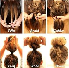 Cute Hairstyle Ideas & Tutorials How To Braided Bun! Did this when I had long locks, I loved how it looked. Especially nice for summerHow To Braided Bun! Did this when I had long locks, I loved how it looked. Especially nice for summer Pretty Hairstyles, Cute Hairstyles, Braided Hairstyles, Bun Hairstyle, School Hairstyles, Summer Hairstyles, Bun Updo, Hairstyle Ideas, Braid Ponytail
