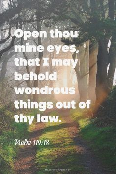 Open thou mine eyes, that I may behold wondrous things out of thy law.<br /> Psalm 119:18 |