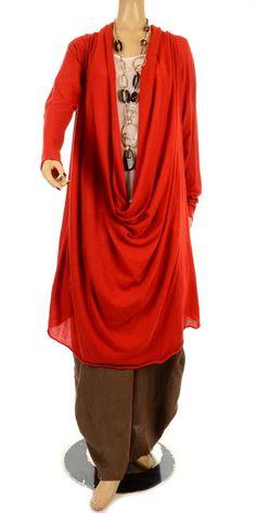 Rundholz Fine Knit Deep Cowl Neck Chilli Red Lagenlook Tunic/Dress-Rundholz, lagenlook,