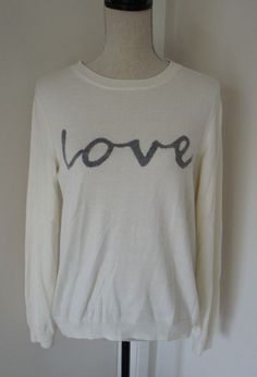 GAP Ivory Love Print Long Sleeve Crew Neck Sweater L Womens Valentines Day Wool #Gap #Crewneck