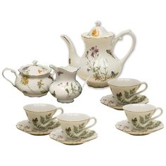 Gracie China Butterfly 11-Piece Porcelain Tea Set, 4-Cup Teapot Sugar Creamer and Four 6-Ounce Cups and Saucers: Kitchen & Dining