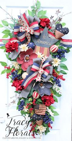 TracysFlorals on Etsy Fourth Of July Decor, 4th Of July Decorations, July 4th, Patriotic Wreath, Patriotic Crafts, Patriotic Party, July Crafts, Independence Day Wallpaper, Red Hydrangea
