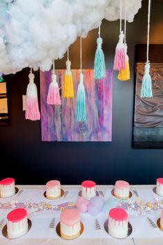 Cute Llamacorn themed bridal shower with cake decorating