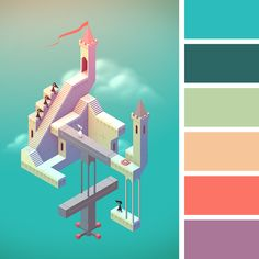 Risultati immagini per monument valley color palette Isometric Art, Isometric Design, Colour Pallete, Colour Schemes, Monument Valley App, Game Design, Design Art, Flat Design, A Level Art