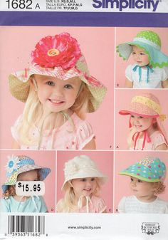 52b81c779ad Simplicity 1682 Sewing Pattern Free Us Ship Girls Baby Babies Toddler  Bonnets HAts Brim Flower New. Etsy