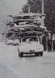 Extreme surfers roadtrip. Stop off at www.breakeryard.com for your car parts.