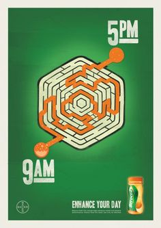 Print advertisement created by The Campaign Palace, Australia for Berocca, within the category: Non-Alcoholic Drinks. Clever Advertising, Advertising Campaign, Advertising Design, Teaching Programs, Ads Creative, Graphic Design Inspiration, Maze, Energy Drinks, Google