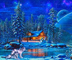 Discover & share this Christmas Eve GIF with everyone you know. GIPHY is how you search, share, discover, and create GIFs. Winter Szenen, I Love Winter, Winter Magic, Winter Moon, Winter Time, Winter Pictures, Christmas Pictures, Art Pictures, Photos