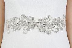Belt 126 - Statement silver crystals adorn this grosgrain sash belt, which ties to fasten.