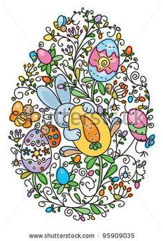 Easter egg shape covered of fun pattern  for Easter's, kid's design - stock vector