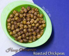 Honey Cinnamon Roasted Chickpeas, with coconut oil -   15 ounce can chickpeas (garbanzo beans) – or 2 cups cooked chickpeas  1 teaspoon ground cinnamon  2 teaspoons coconut oil – liquid  1 tablespoon honey