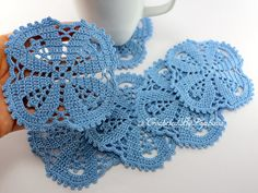 Crochet Coasters, Christening Gifts For Boys, Crochet Home Decor, Coasters Crochet Set of 6, Table Coasters, Blue Coasters