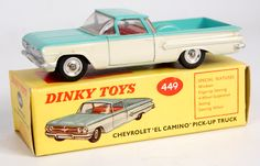Lot 2051 - Dinky Toys, 449 Chevrolet El Camino pick-up truck, off-white lower body with turquoise upper body,