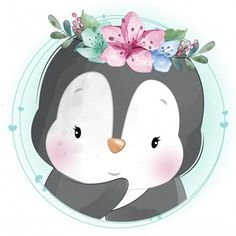 Cute Little Penguin With Floral Portrait Baby Animal Drawings, Cute Drawings, Cute Images, Cute Pictures, Cute Animal Illustration, Fantasy Illustration, Digital Illustration, Baby Animals, Cute Animals