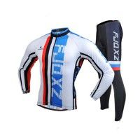 Outdoor Sports Men's Slim Fit Cycling Jersey Long Sleeves Cycling Gel Padded Tights